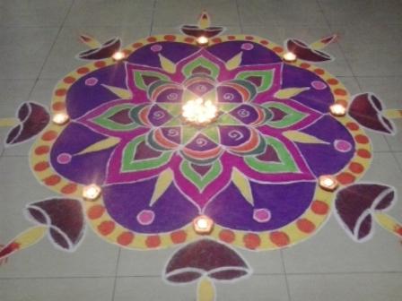 Diya Gujarati Rangoli Design