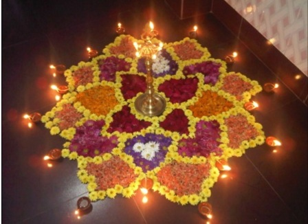 Floral Diya Rangoli Design