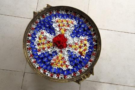 Floral Floating Rangoli Designs In Water