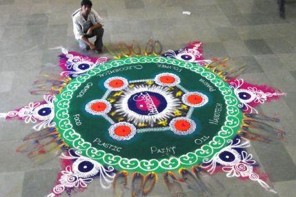 Florescent Coloured Galicha Rangoli