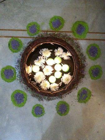 Flower Rangoli In Water