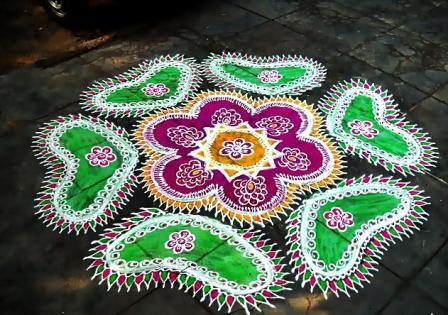 Sanskar Bharati Flower Rangoli Design