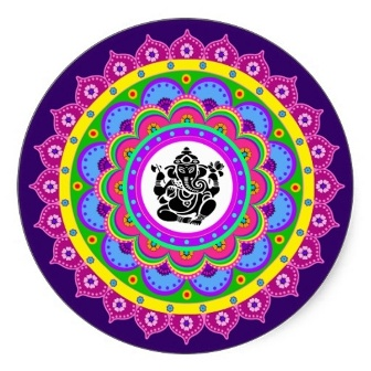 Ganesha mandala sticker rangolis