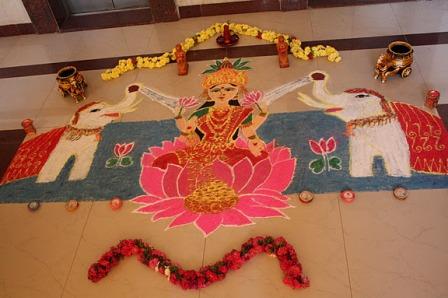 Goddess Lakshmi Handmade Rangoli Design