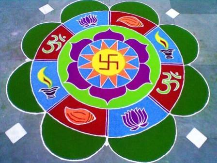Hindu Handmade Round Rangoli
