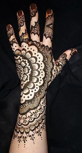 Half Floral Mehndi Design for hand