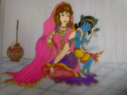 Mother and Son Krishna Rangoli Design