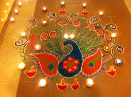 Peacock Diya Rangoli