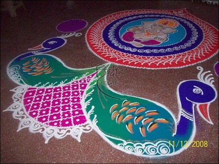 Peacock Shaped Galicha Rangoli