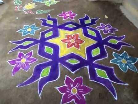 Purple Marathi Rangoli Design