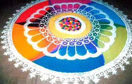 Rainbow Colored Galicha Rangoli