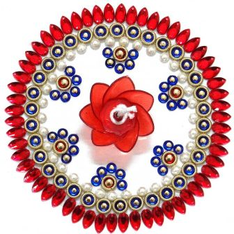 Red and Blue Stone Floating Rangoli