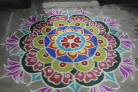Flower Pattern Sanskar Rangoli