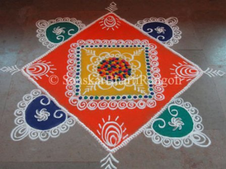 Square Shaped Galicha Rangoli Design