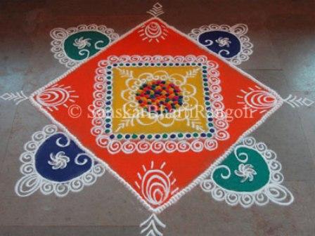 Square Shaped Galicha Rangoli Design