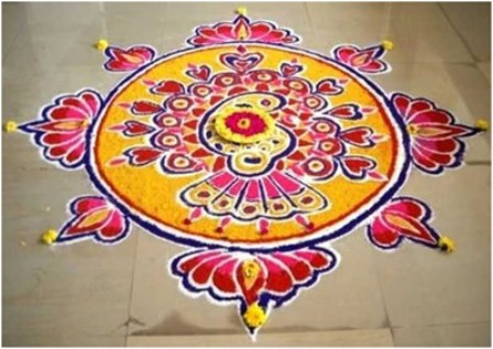 Yellow and Red Round Rangoli Designs