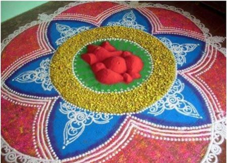 21- Best Amazing Ganesh Chaturthi Rangoli Photo Gallery for free download