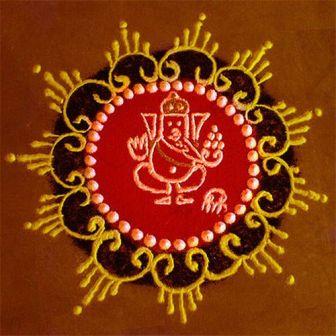 Free Hand Ganesh Rangoli