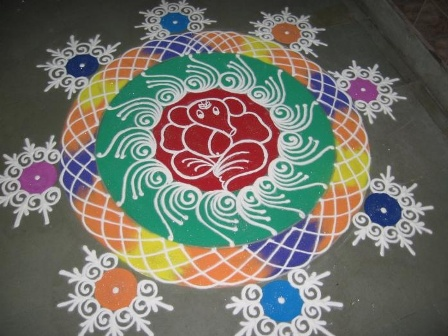 Ganesh Rangoli With Flowers And Leaves