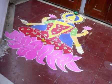 Simple Laxmi Rangoli Design
