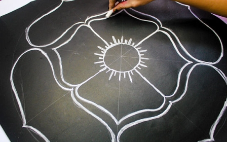 Line Rangoli Designs By Drawing Chalk