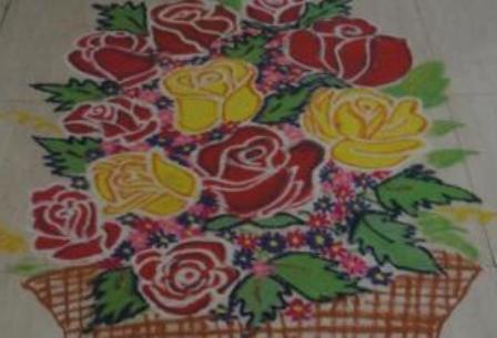 Rose rangoli drawing #1