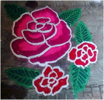 9 best rose flower rangoli designs with pictures