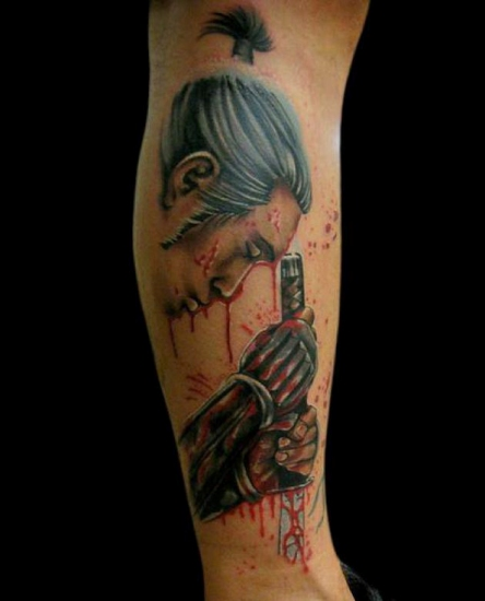 A Samurai face with sword Hands and Blood