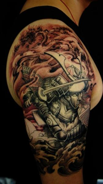 Half Sleeve Samurai Tattoo