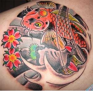 Pisces Tattoo With Flowers