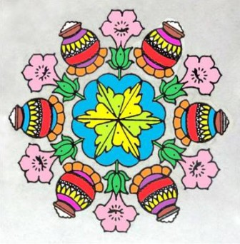 Pongal Pot Rangoli Design
