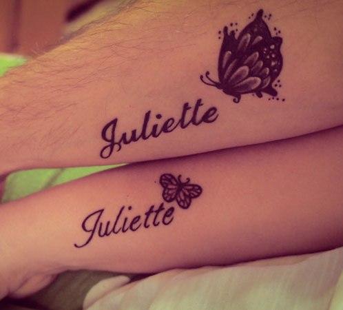 name tattoos on leg