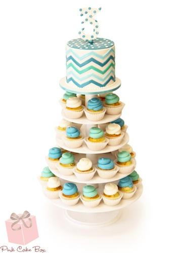 Chevron Birthday Cupcake Tower Jpg