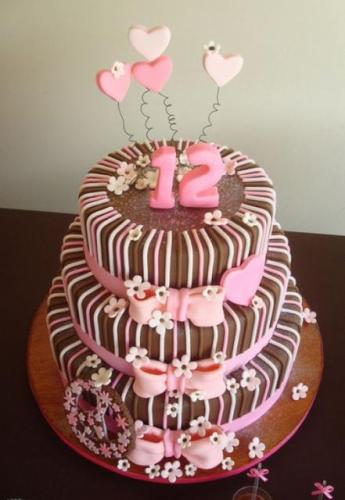 Chocolate Cake With Pink Hearts Three