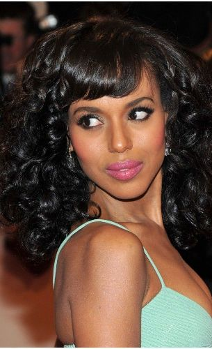 Kerry Washington- Heavy Fringed Bangs and Curls