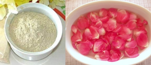Multani mitti and rose water