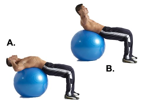 Belly fat exercise = Ball Crunch