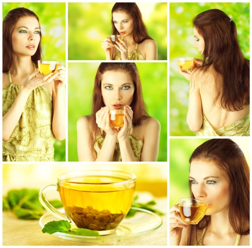 Healthy Green tea woman