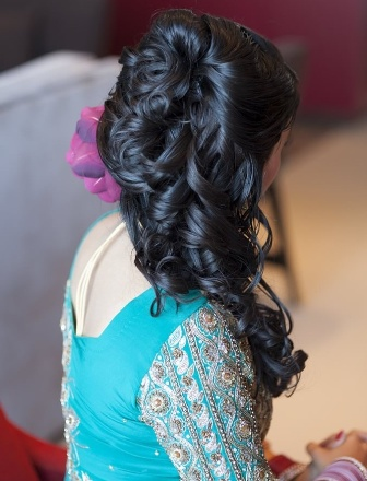 Half Up Half Down Curls Indian Hairstyles For Medium Length Hair