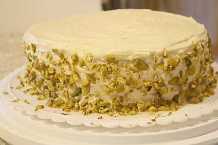 Pistachio Cake with Honey Butter cream: