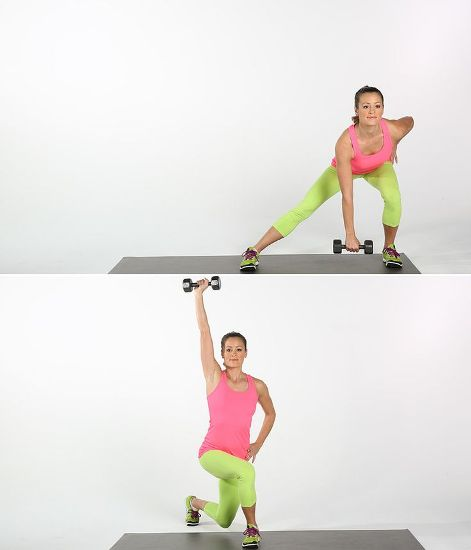 exercise belly fat Side Lunges and Press Outs