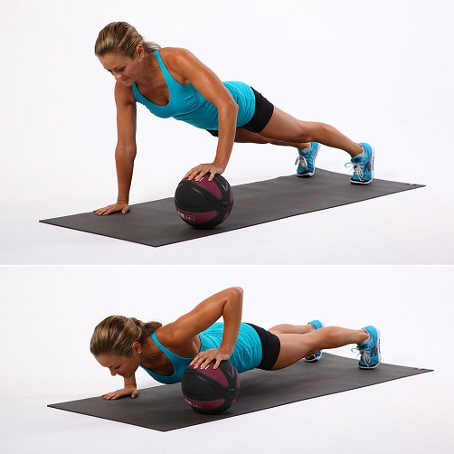 Single Arm Push Up - Medicine Ball Exercises