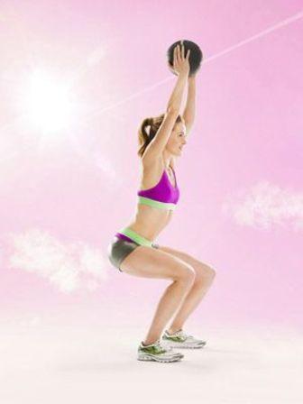 medicine ball exercises - Squat- Ups