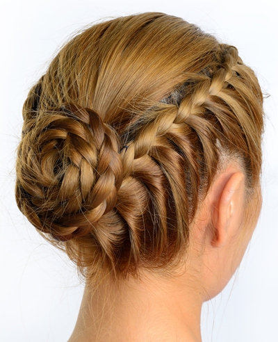 easy braided hairstyles for medium hair - Waterfall Rope Braid And Rope Bun