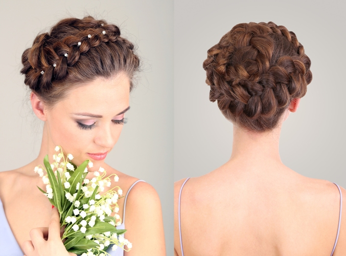 braid styles for medium hair - Full Head Pearl Accessorized Braid