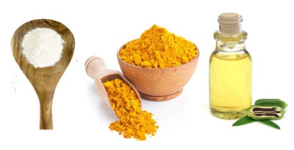 Wheat flour, Turmeric powder and sesame oil
