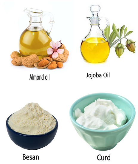 Besan Almond oil Jojoba Oil and Curd