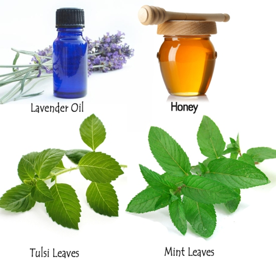 10. Mint Leaves, Tulsi Leaves, Lavender Oil and Honey: