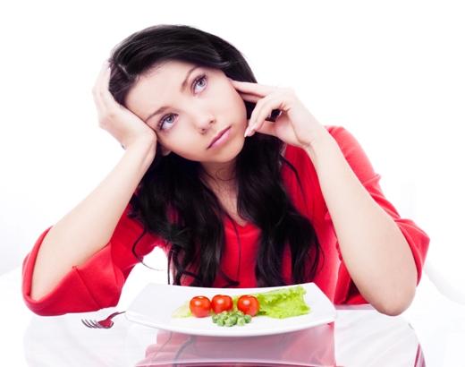 Strict diet eating veg