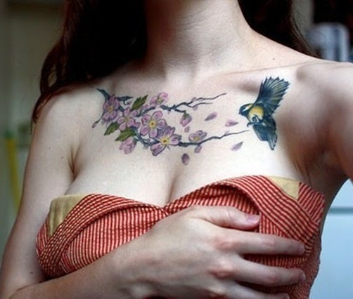 nature tattoo for the breasts